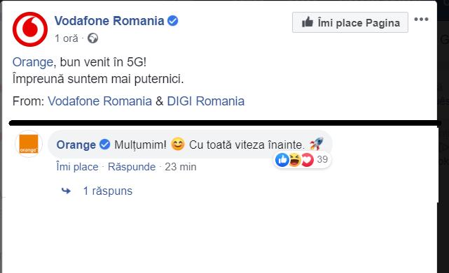 """Vodafone, care a activat cu o jumătate de an în urmă primele antene 5G din România, ia peste picior liderul pieţei pentru lansarea de marţi: """"Orange, bun venit în 5G!"""""""